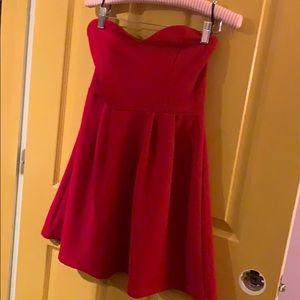 Red Sweetheart Neckline Forever 21 Strapless Dress